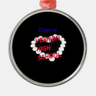 Customizable Vernon High School Candle Heart Metal Ornament