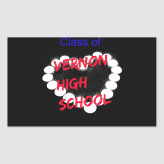 Customizable Vernon High School Candle Heart Rectangular Sticker