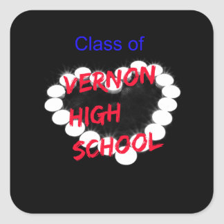 Customizable Vernon High School Candle Heart Square Sticker