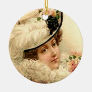 Customizable Victorian Lady Pink Roses Ornament
