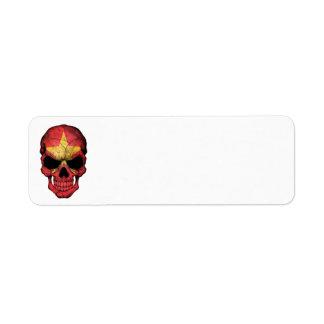 Customizable Vietnamese Flag Skull Custom Return Address Labels