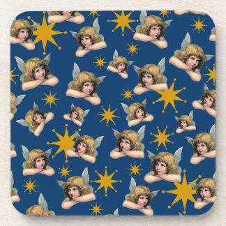 Customizable Vintage Angels & Stars Beverage Coaster