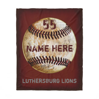 Customizable Vintage Baseball Team Blanket