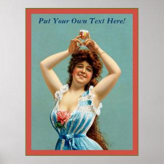 Customizable Vintage Beer Advertising Poster