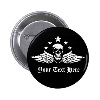 Customizable Vintage Biker Skull and Wings Button