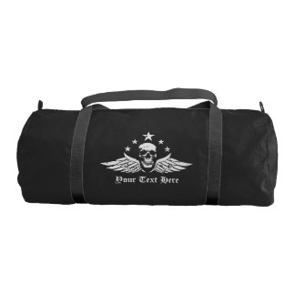 Customizable Vintage Biker Skull and Wings Duffle Bag