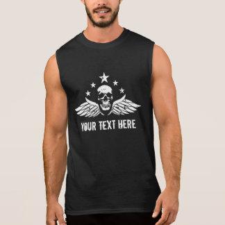 Customizable Vintage Biker Skull and Wings Sleeveless Shirt