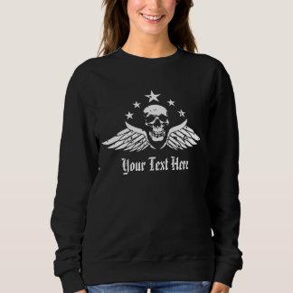 Customizable Vintage Biker Skull and Wings Sweatshirt