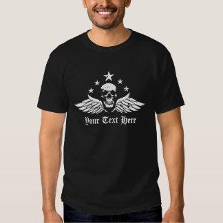 Customizable Vintage Biker Skull and Wings T-Shirt