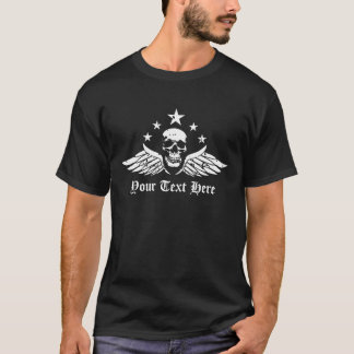 Customizable Vintage Biker Skull and Wings T-Shirt