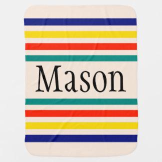 Customizable Vintage Bold Striped Baby Blanket