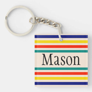 Customizable Vintage Bold Striped Key Chain