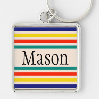 Customizable Vintage Bold Striped Keychain
