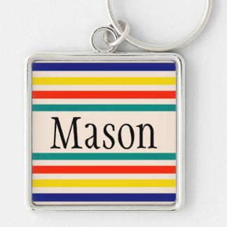 Customizable Vintage Bold Striped Keychain