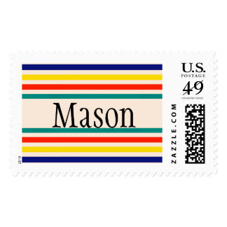 Customizable Vintage Bold Striped Postage Stamps