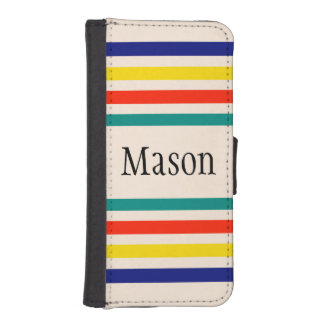 Customizable Vintage Bold Striped Wallet Case Phone Wallet