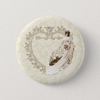 Customizable vintage bride wedding set - templates pinback button