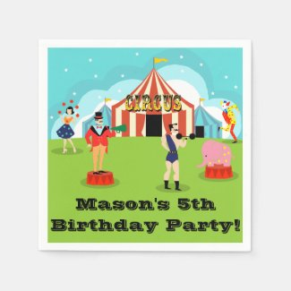 Customizable Vintage Circus Disposable Napkins