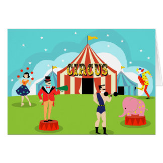Customizable Vintage Circus Greeting Card