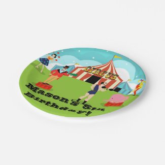 Customizable Vintage Circus Paper Plate