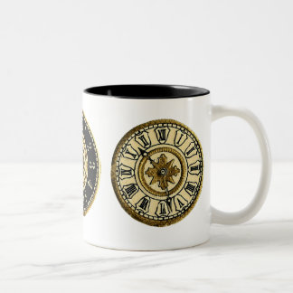 Customizable Vintage Clocks Two-Tone Coffee Mug