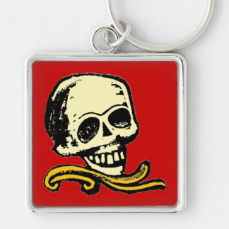 Customizable Vintage Decorative Skull Silver-Colored Square Keychain
