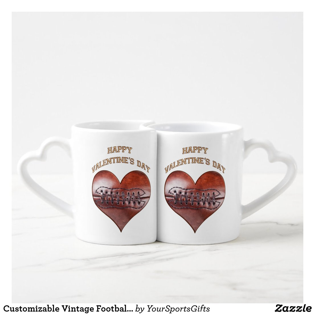 Customizable Vintage Football Valentine Mugs