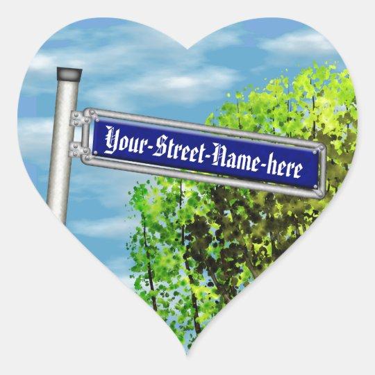 Customizable vintage German street sign - Heart Sticker