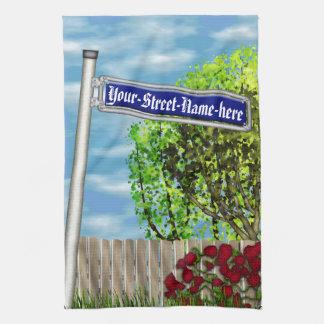Customizable vintage German street sign - Kitchen Towel