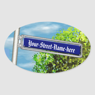 Customizable vintage German street sign - Oval Sticker