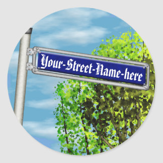 Customizable vintage German street sign - Classic Round Sticker
