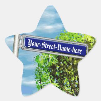 Customizable vintage German street sign - Star Sticker