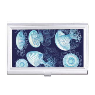 Customizable Vintage Haeckel Jellyfish Business Card Case
