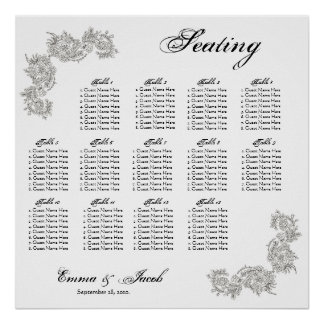 Customizable Vintage Inspired Seating Chart Poster
