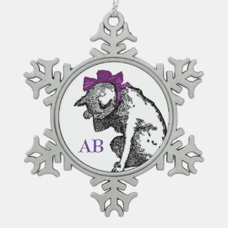 Customizable: Vintage kitty Snowflake Pewter Christmas Ornament