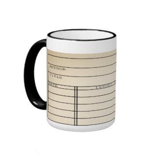 Customizable Vintage Library Book Card Coffee Mug