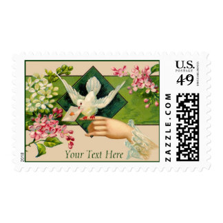Customizable Vintage Lovebird Postcard Stamps