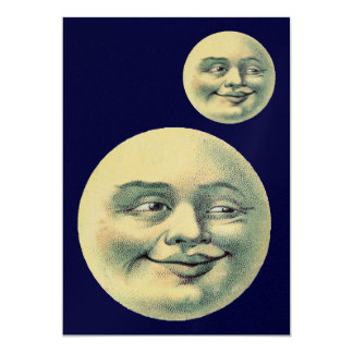 Customizable Vintage Moons 5x7 Paper Invitation Card
