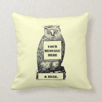 Customizable VIntage Owl Message Throw Pillow