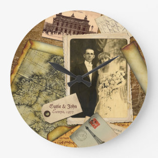 Customizable Vintage Paper Frame Photo Collage Large Clock