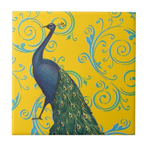 Customizable Vintage Peacock Swirl Small Square Tile
