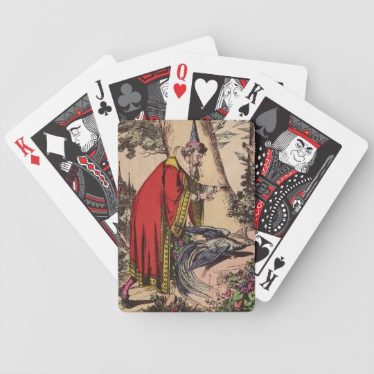 Customizable Vintage Peacock & Wizard Bicycle Playing Cards
