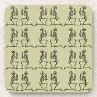 Customizable Vintage Praying Skeletons Coaster