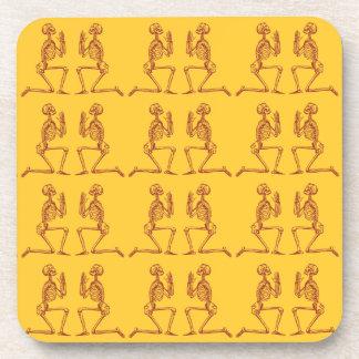 Customizable Vintage Praying Skeletons Drink Coasters