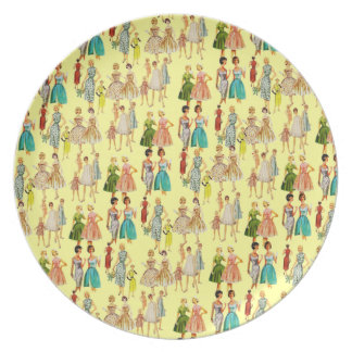 Customizable Vintage Retro Fashion Party Plate