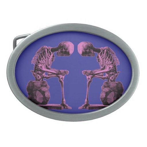 "Customizable Vintage Skeleton ""Thinker"" Belt Buckles"