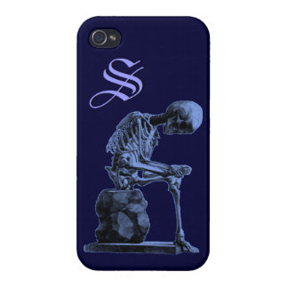 "Customizable Vintage Skeleton ""Thinker"" Cases For iPhone 4"