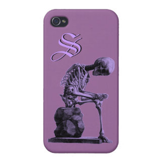 "Customizable Vintage Skeleton ""Thinker"" iPhone 4/4S Cover"