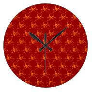 Customizable Vintage Skull & Crossbones Wall Clocks