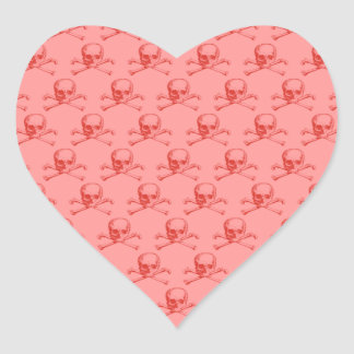 Customizable Vintage Skull & Crossbones Heart Sticker
